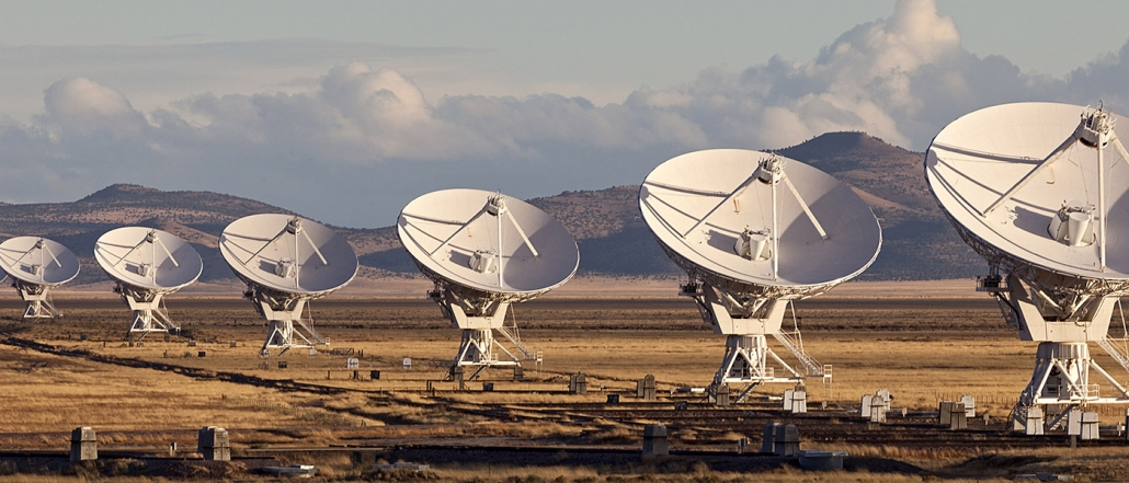 Very Large Array satellite dishes at Sunset